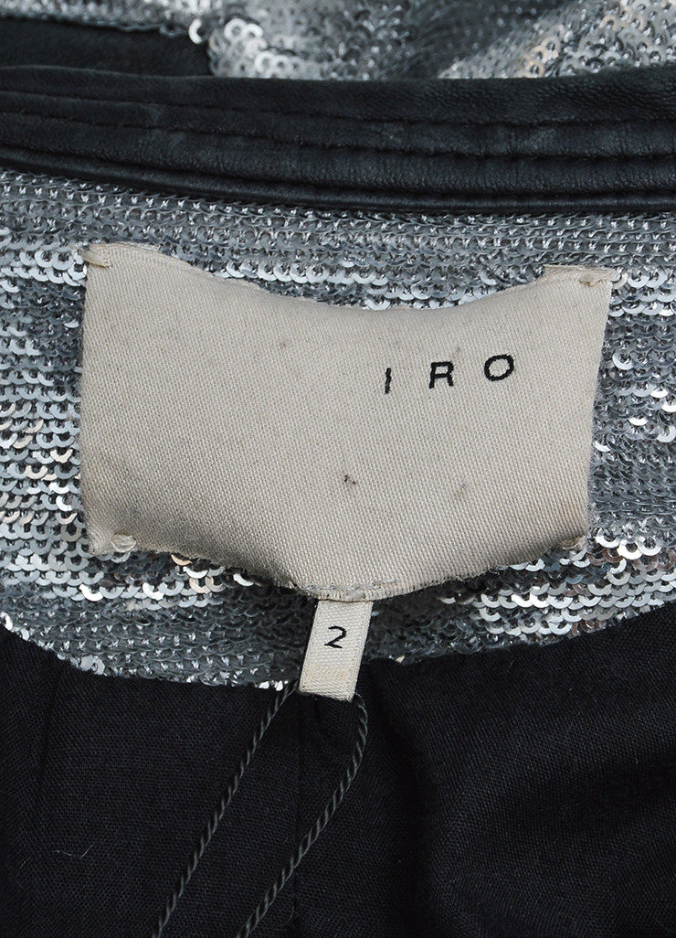 "Iro Silver Sequin Leather Trim Zip ""Longina"" Moto Jacket Brand"
