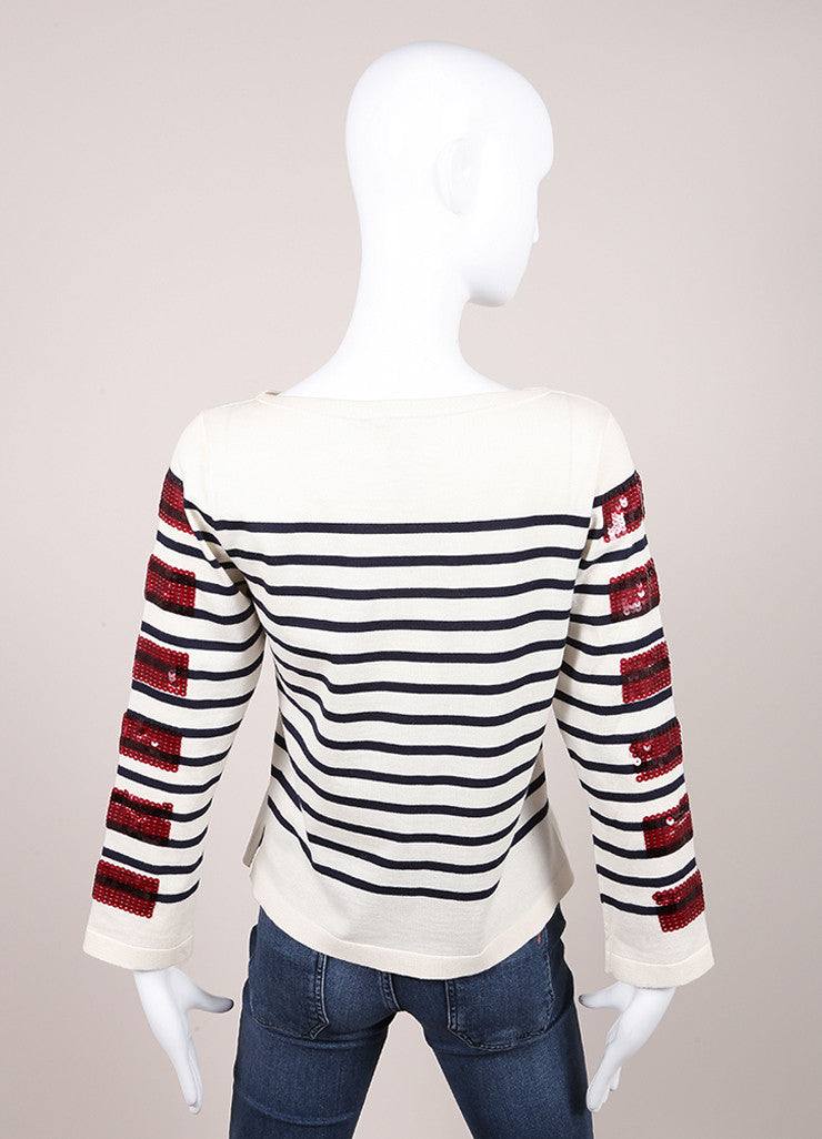Marc Jacob New With Tags Cream, Blue, and Red Sequin Stripe Cotton and Cashmere Sweater Backview