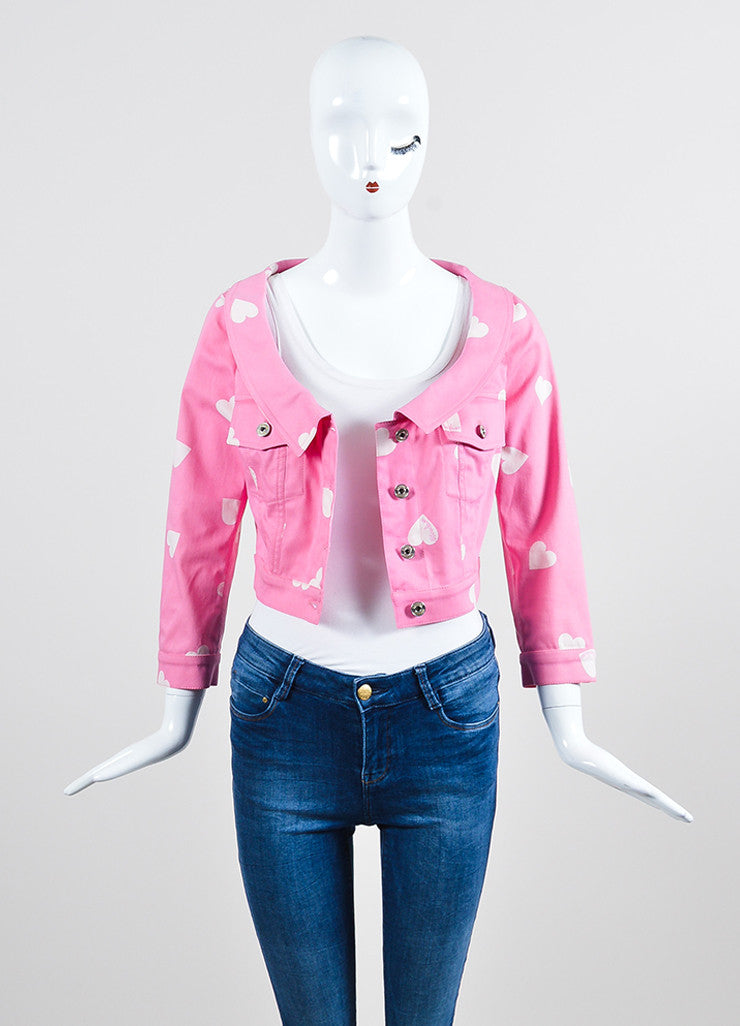 Pink and White Moschino Couture! Heart Print Cropped Jacket Frontview