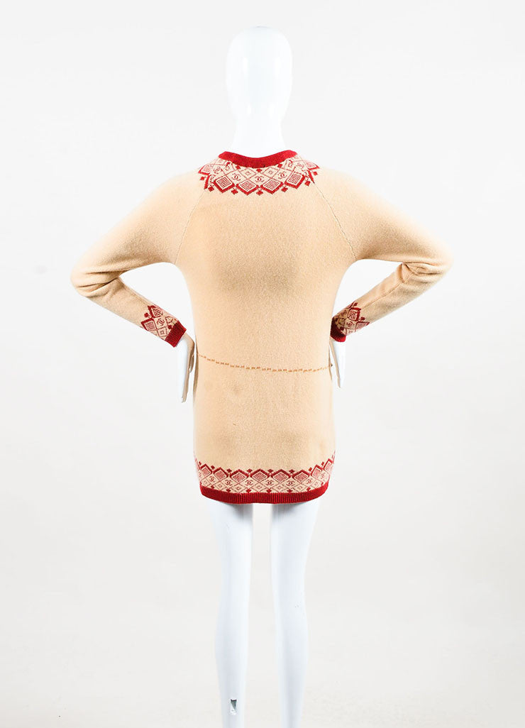 Chanel Tan and Red Cashmere Intarsia Knit Embellished Long Sleeve Sweater Dress Backview