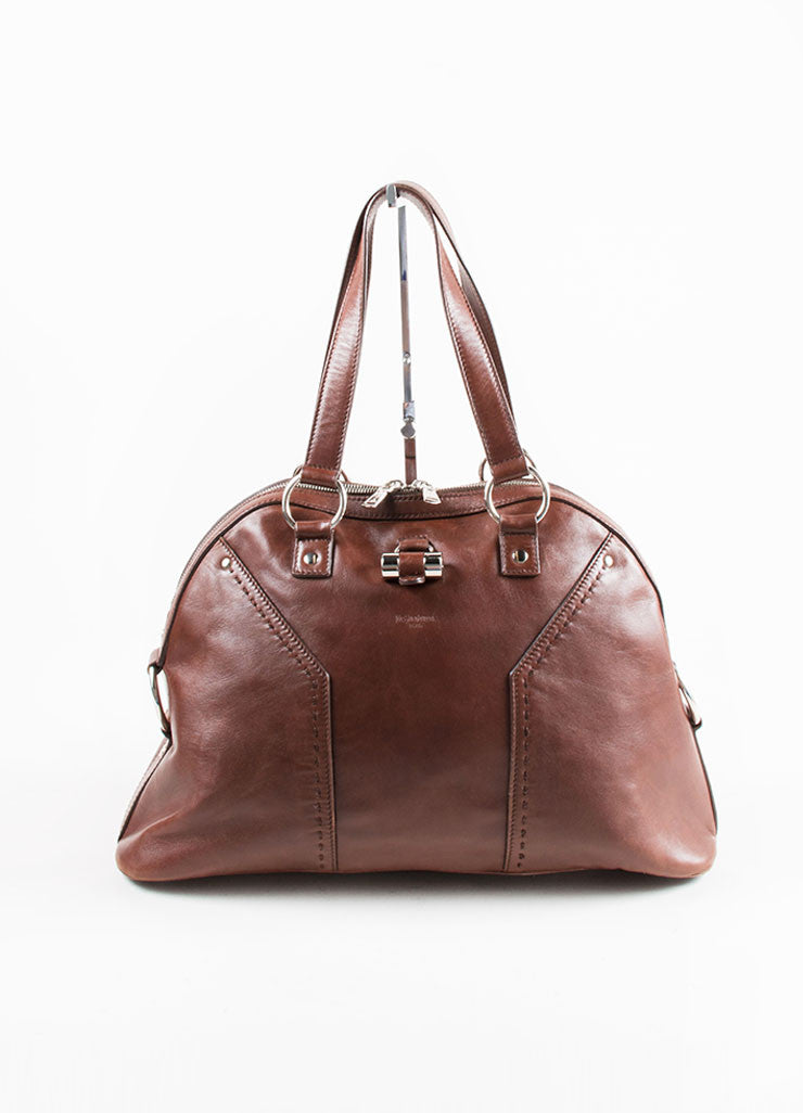 "Yves Saint Laurent Brown Silver Tone Leather ""Muse"" Zip Dome Satchel Bag Front"