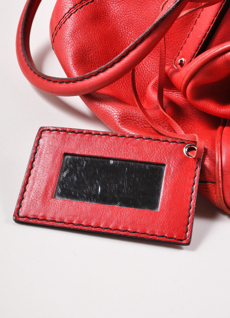 Balenciaga Red and Silver Toned Turnlock Clasp Grained Leather Shoulder Bag Detail 4