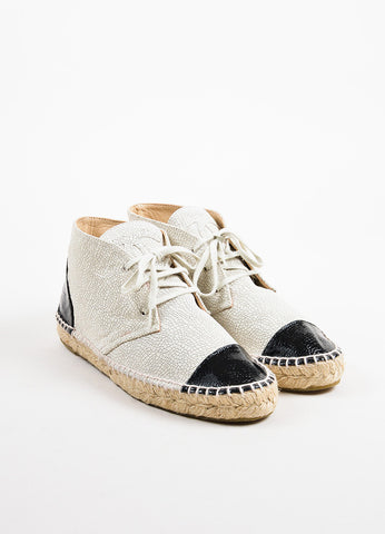Chanel Cream and Black Crackled Patent Leather Cap Toe High Top Espadrilles Frontview