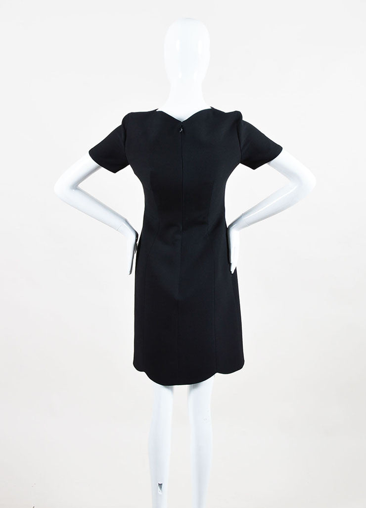 Black Christian Dior Wool and Silk Scalloped Trim Short Sleeve Dress Back