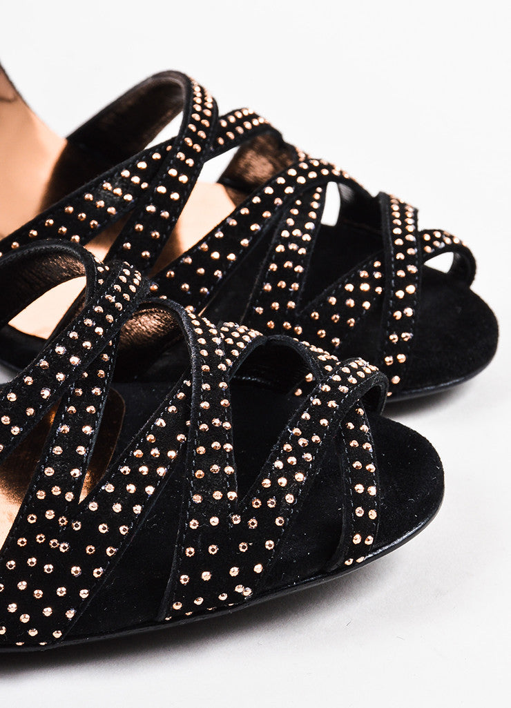 Gucci Black and Rose Gold Suede Studded Crisscross Sandals Detail