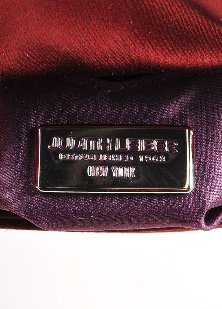 "Judith Leiber Wine Red Embellished Buckle Satin ""Serena"" Clutch Bag Brand"