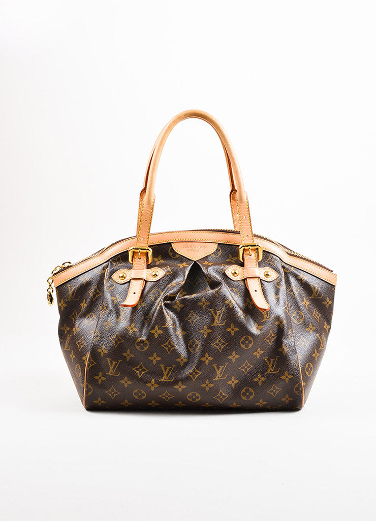 "Louis Vuitton Brown Monogram Canvas Leather Trim ""Tivoli GM"" Bag Front"