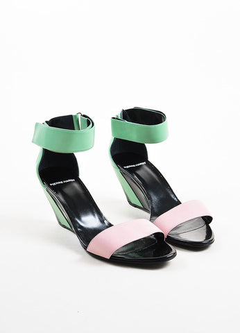 Black, Green, and Pink Leather Colorblock Wedge Sandals Frontview
