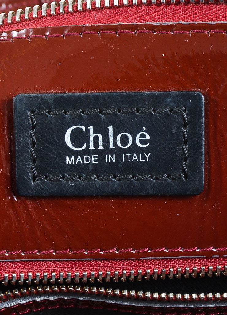 "Chloe Red Quilted Patent Leather ""Heloise"" Large Zip Tote Bag Brand"