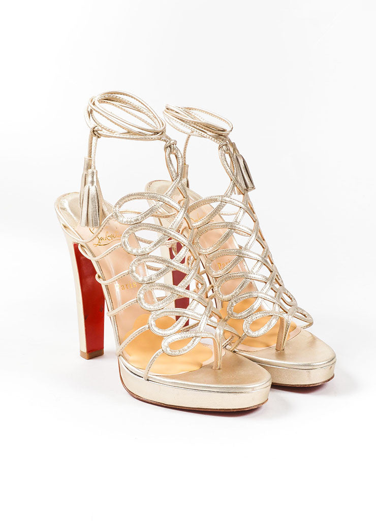 Christian Louboutin Gold Leather Lace Up Sandals Frontview