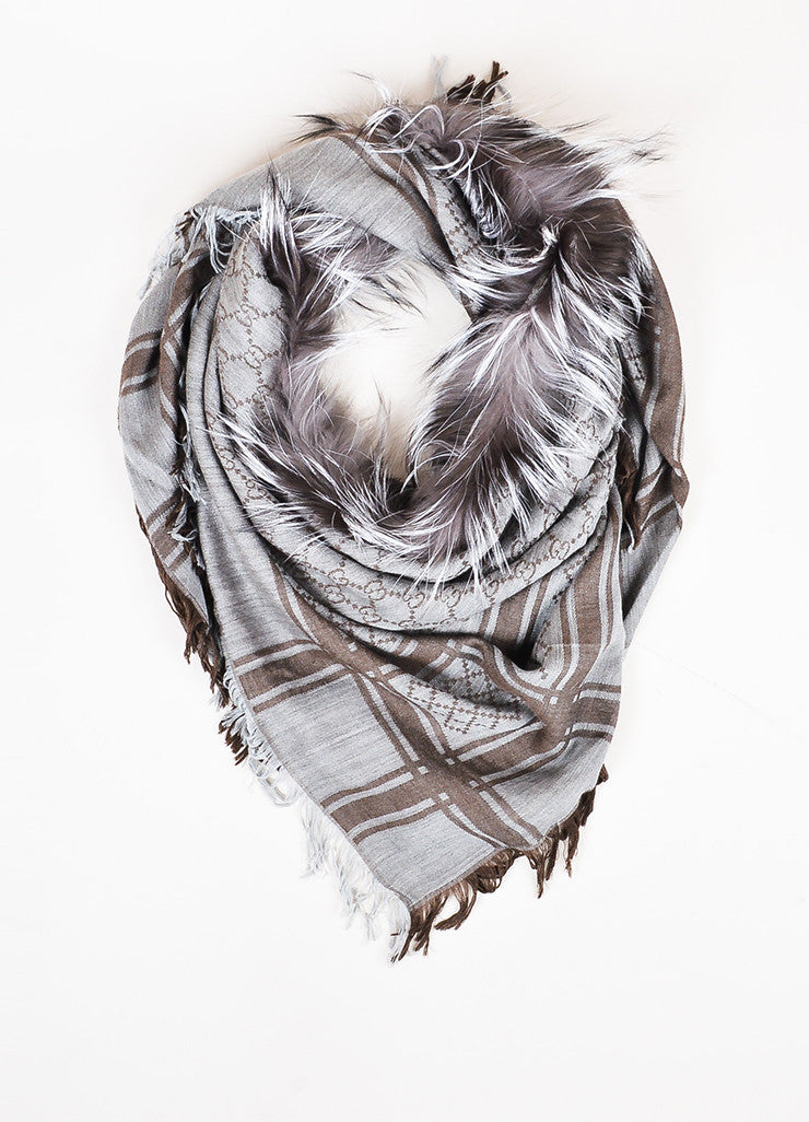 "Gucci Grey and Brown Wool and Silk Fox Fur Trim Diamante Pattern ""Survie"" Scarf Frontview"
