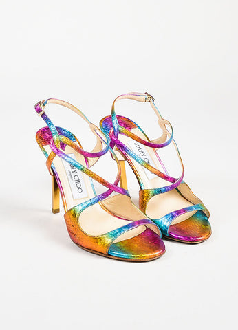 "Jimmy Choo Multicolor Rainbow Embossed Peep Toe ""Panama"" Heels Frontview"