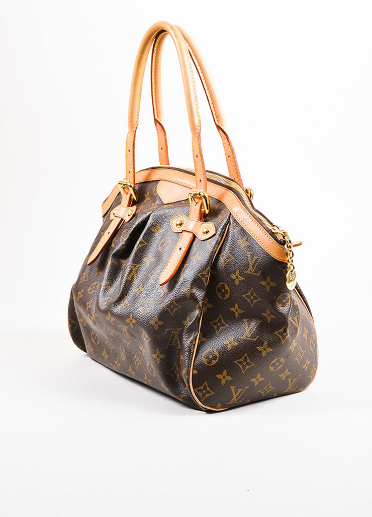 "Louis Vuitton Brown Monogram Canvas Leather Trim ""Tivoli GM"" Bag Back"