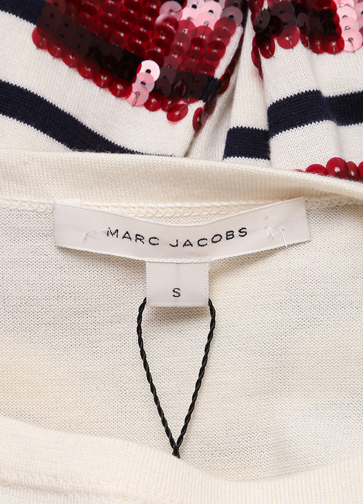 Marc Jacobs New With Tags Cream, Blue, and Red Sequin Stripe Cotton and Cashmere Sweater Brand