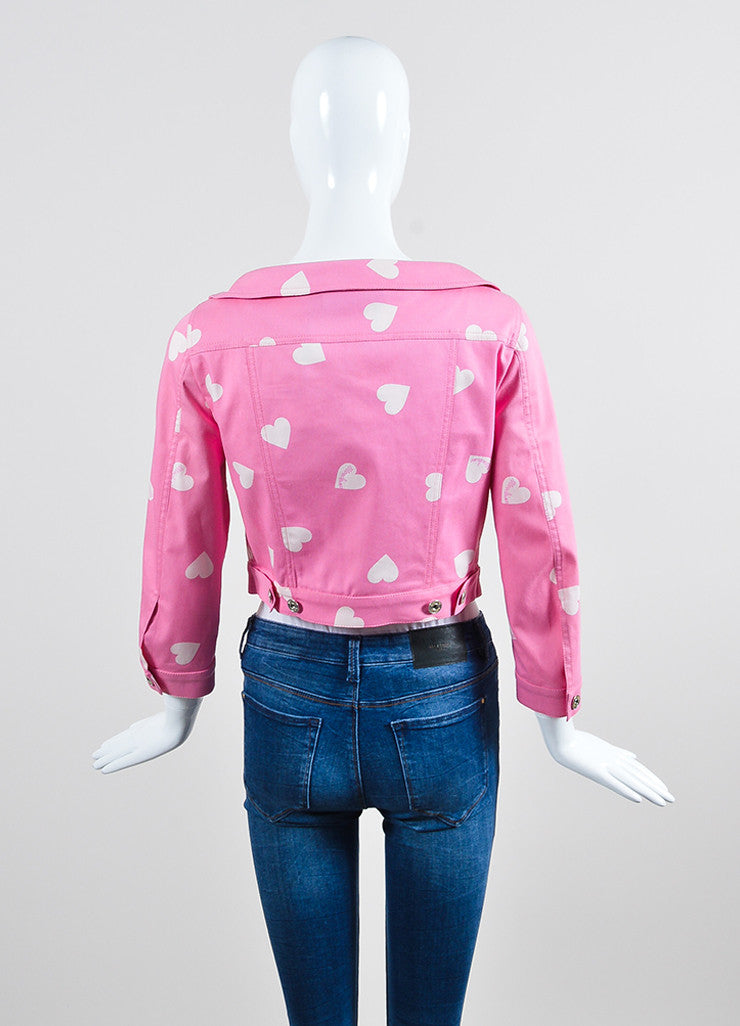 Pink and White Moschino Couture! Heart Print Cropped Jacket Backview