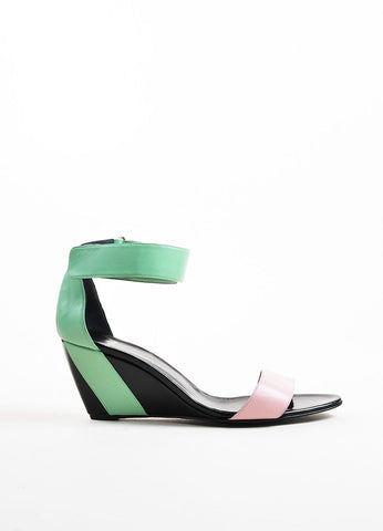 Black, Green, and Pink Leather Colorblock Wedge Sandals Sideview