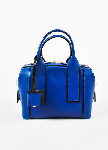 "Pierre Hardy Blue and Black Leather ""Bandit"" Top Handle Satchel Bag Pierre Hardy Blue and Black Leather ""Bandit"" Top Handle Satchel Bag Frontview"