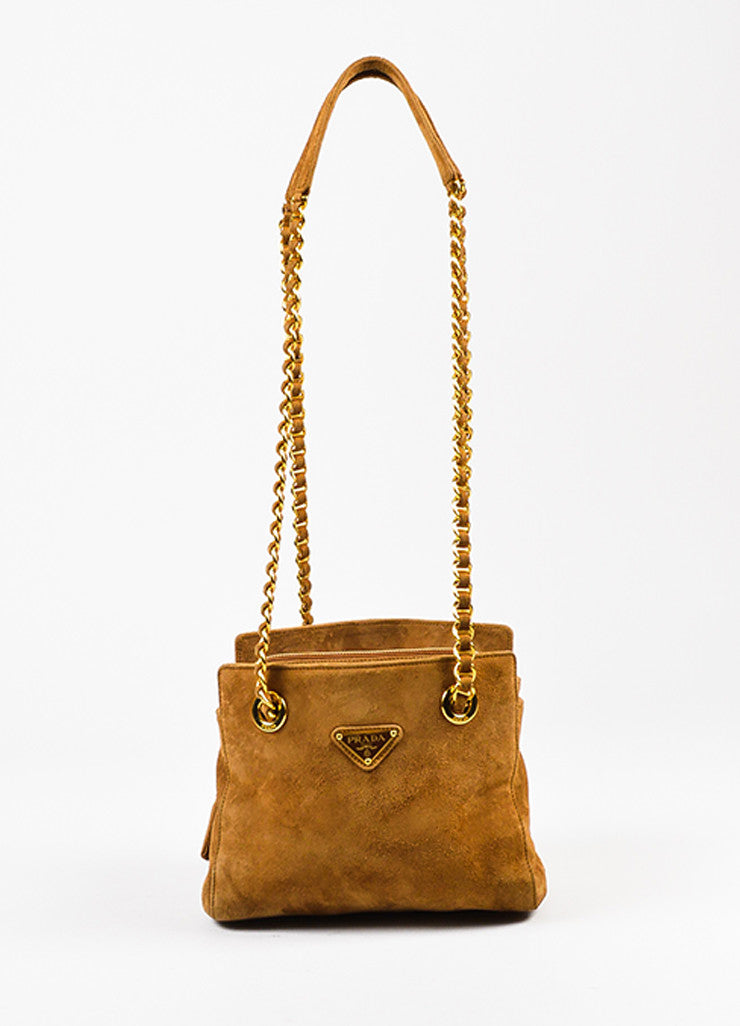 Prada Camel Tan Suede Chain Strap Shoulder Bag Frontview