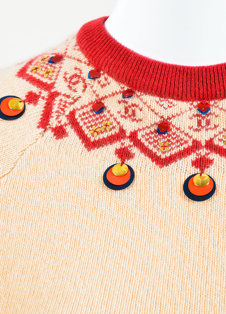 Chanel Tan and Red Cashmere Intarsia Knit Embellished Long Sleeve Sweater Dress Detail 2