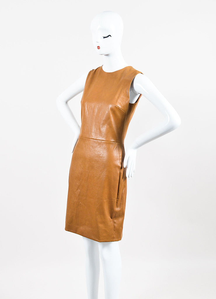 The Row Caramel Brown Leather Sleeveless Sheath Dress Sideview