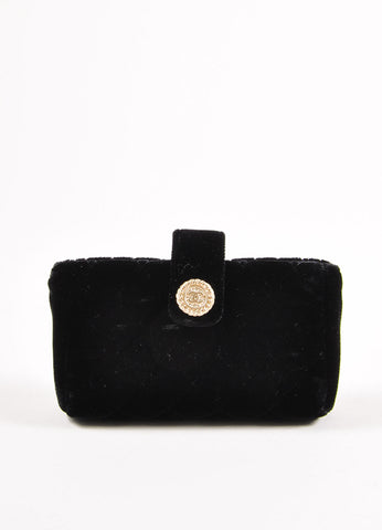 Chanel Black Quilted Velvet Evening Clutch Bag Frontview
