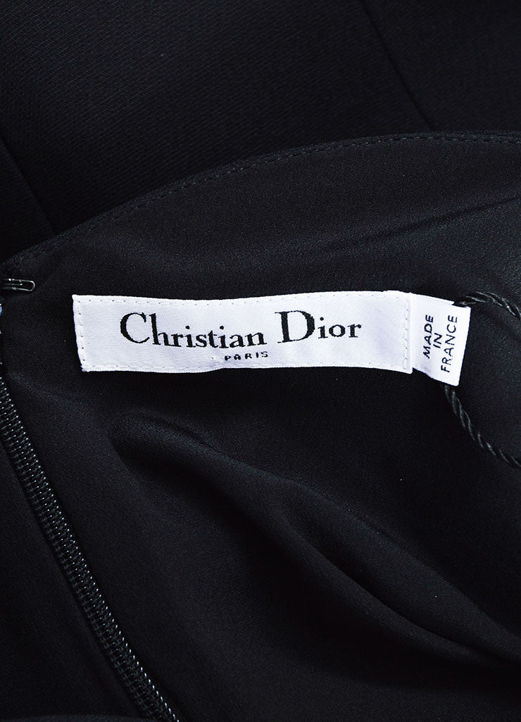 Black Christian Dior Wool and Silk Scalloped Trim Short Sleeve Dress Brand