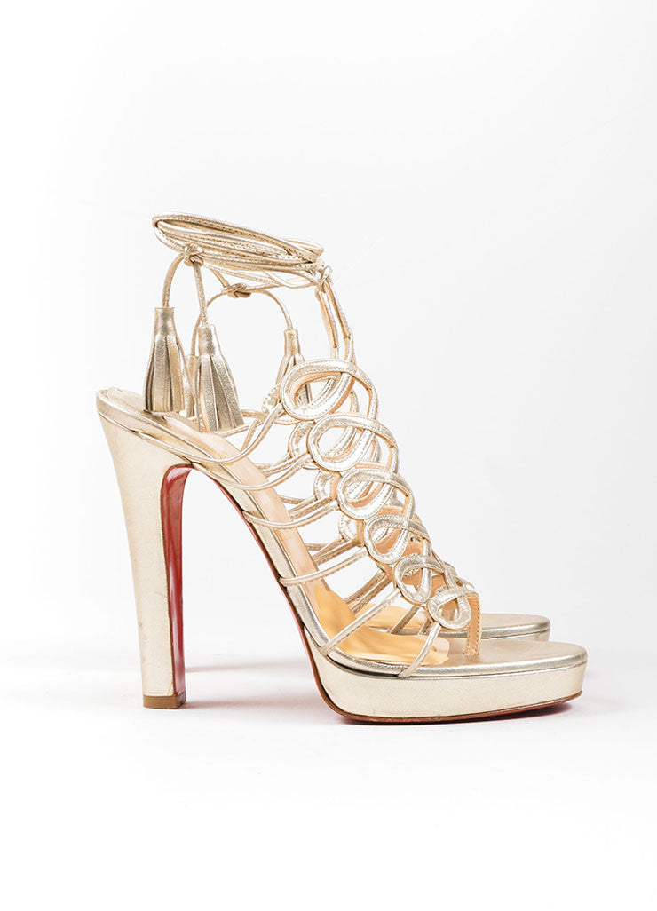 Christian Louboutin Gold Leather Lace Up Sandals Sideveiw