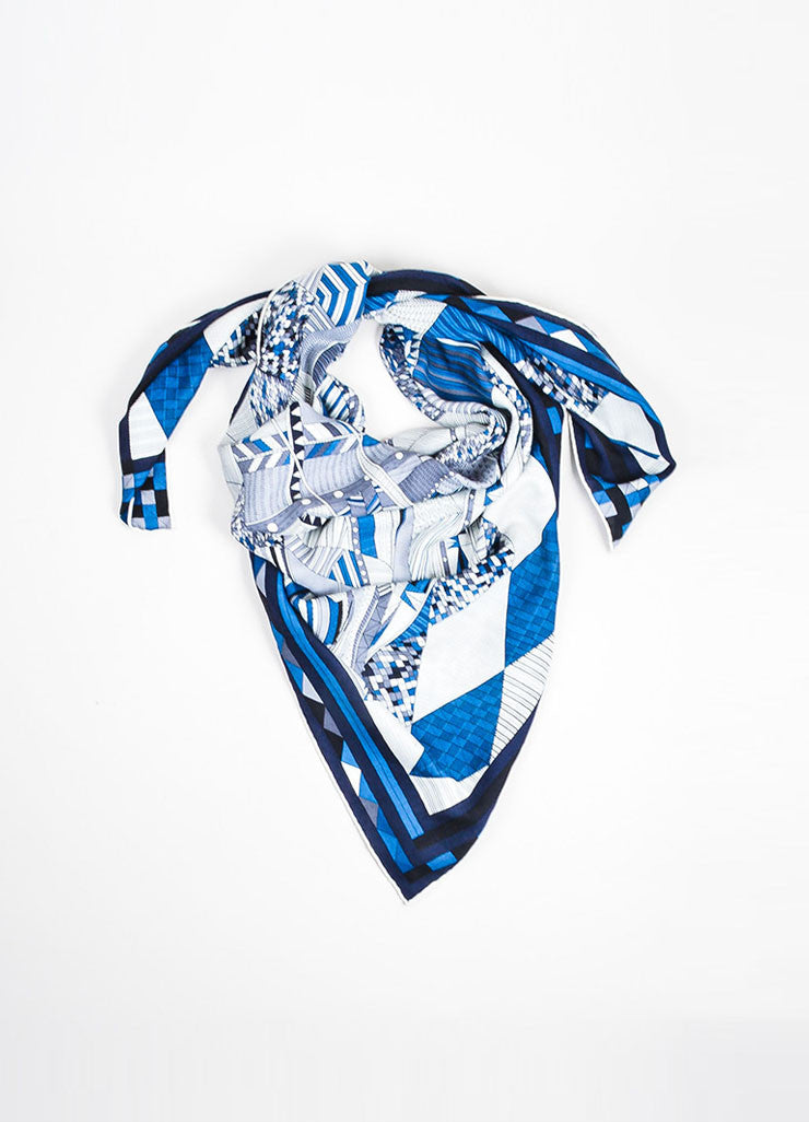 "Blue and Cream Hermes Cashmere and Silk Geometric Line Design ""Patchwork Horse"" Scarf Frontview"