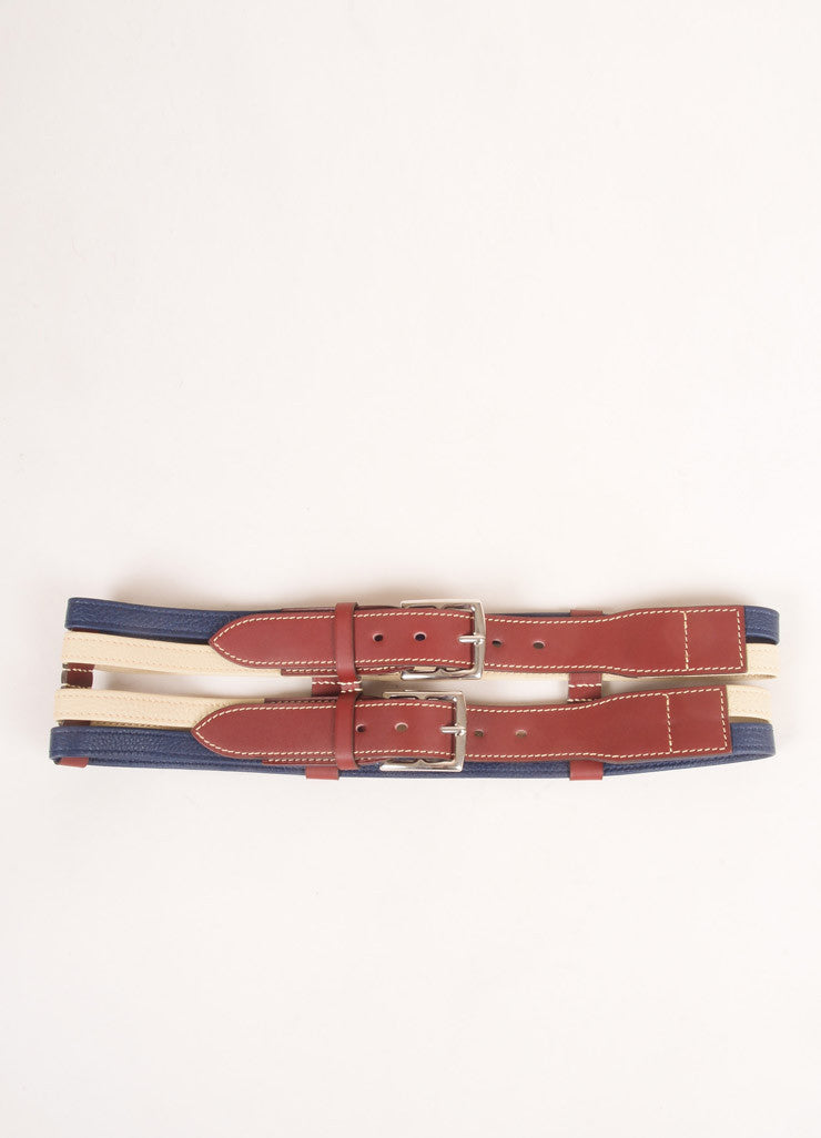 Hermes Maroon, Navy, and Beige Leather Color Block Multi Strap Wide Double Buckle Belt Frontview