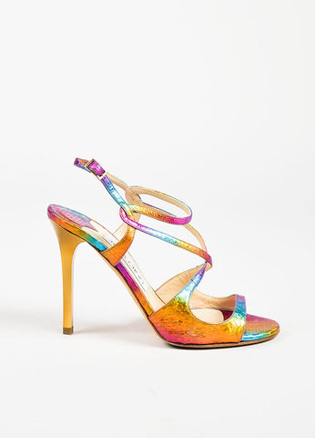 "Jimmy Choo Multicolor Rainbow Embossed Peep Toe ""Panama"" Heels Sideview"