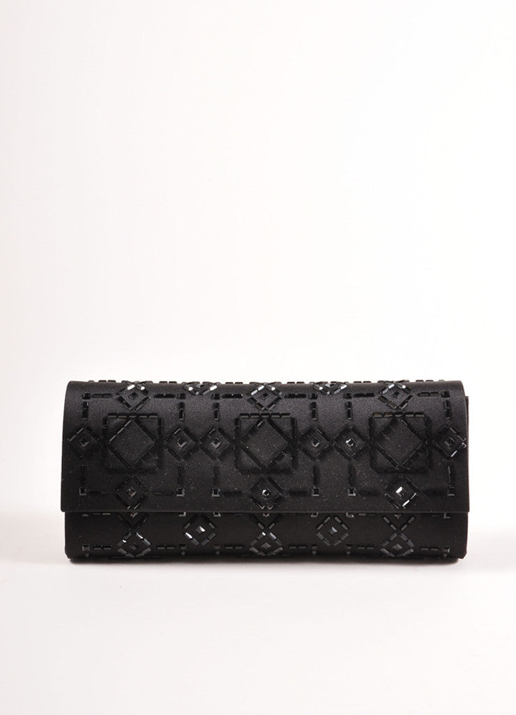 Judith Leiber New With Tags Black Satin Beaded Embellished Rectangular Flap Clutch Bag Frontview