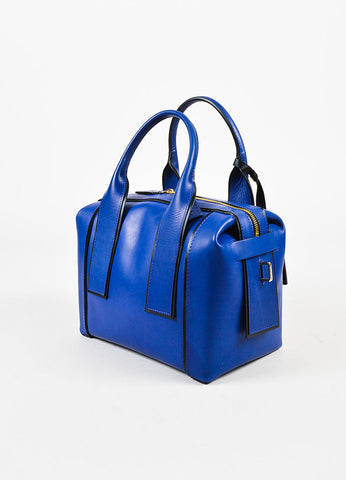 "Pierre Hardy Blue and Black Leather ""Bandit"" Top Handle Satchel Bag Sideview"