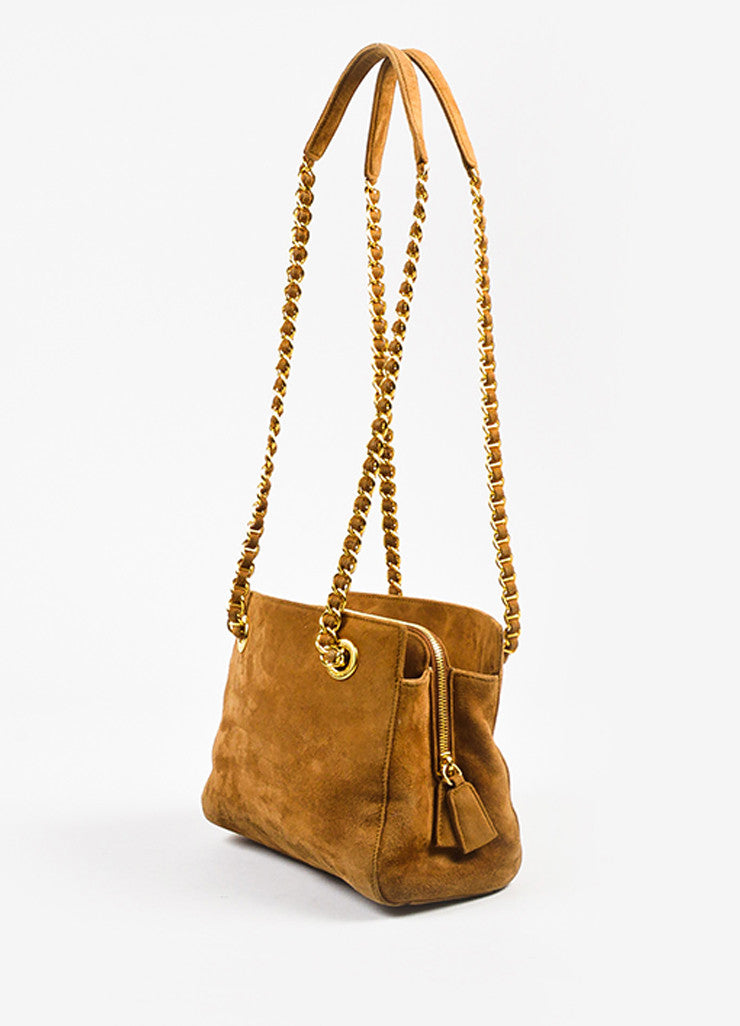 Prada Camel Tan Suede Chain Strap Shoulder Bag Sideview