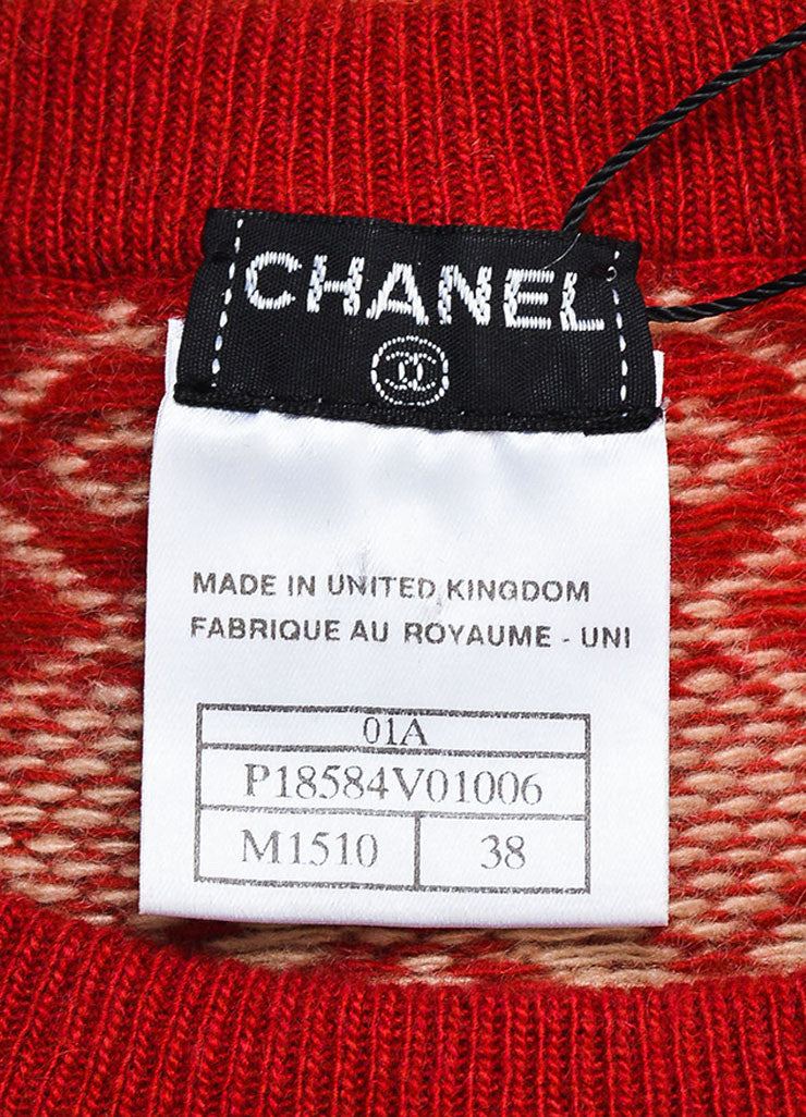 Chanel Tan and Red Cashmere Intarsia Knit Embellished Long Sleeve Sweater Dress Brand
