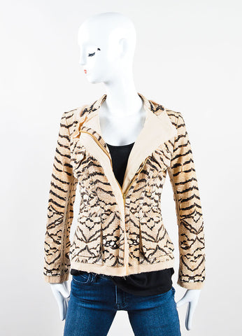 Roberto Cavalli Cream, Black, and Brown Knit Silk Trim Snakeskin Print Frayed Jacket Frontview