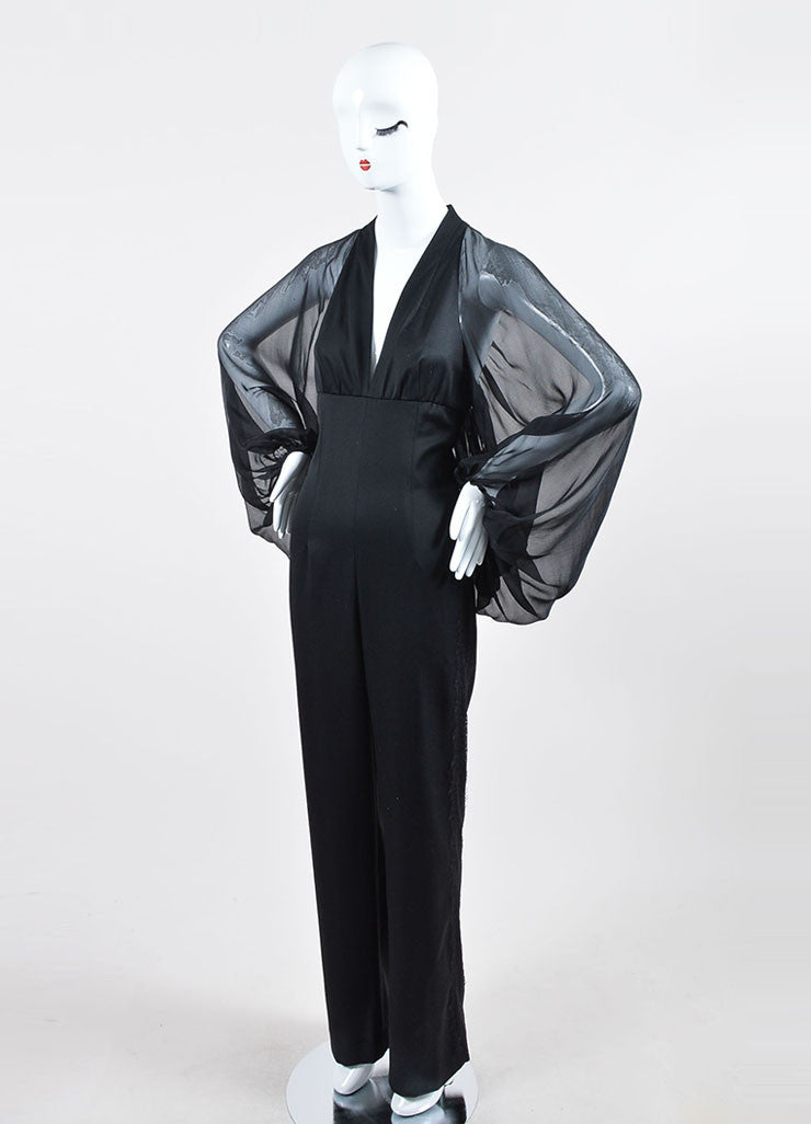 Black Tamara Mellon Wool and Silk Chiffon Long Sleeve Lace Jumpsuit Sideview