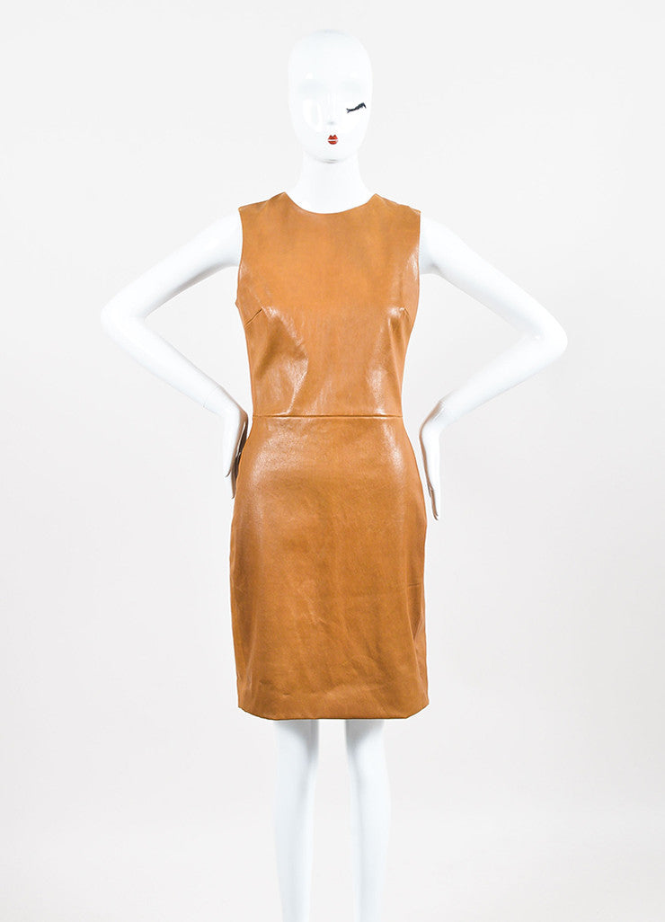 The Row Caramel Brown Leather Sleeveless Sheath Dress Frontview