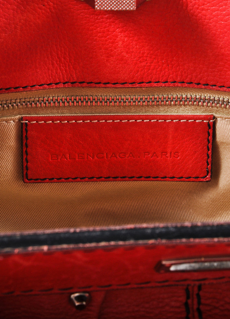 Balenciaga Red and Silver Toned Turnlock Clasp Grained Leather Shoulder Bag Brand