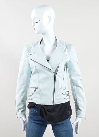 Barbara Bui Mint Green Blue Quilted Leather Zip Moto Jacket Frontview