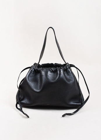 "Celine Black Leather ""Foulard Drawstring Bag"" Frontview"