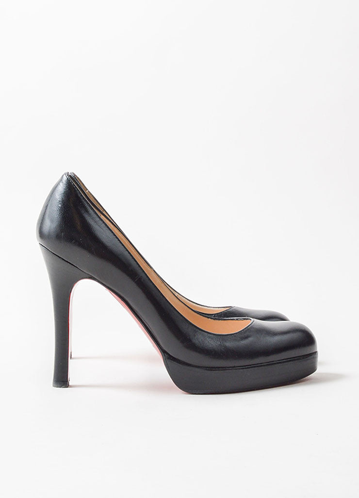 Christian Louboutin Black Leather Platform Pumps Side
