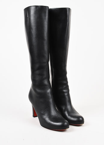 Christian Louboutin Black Leather Tall Heeled Boots Frontview