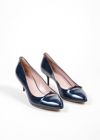 "Navy Blue Gucci Patent Leather ""Beverly"" Bow Mid Heel Pumps Front"