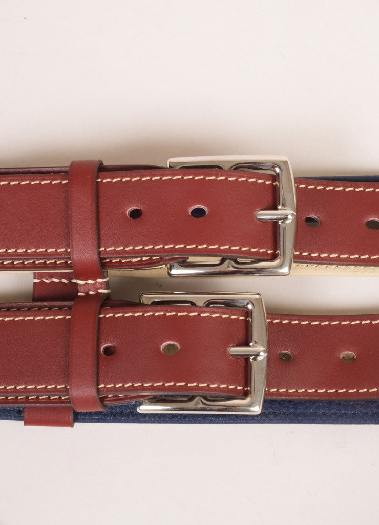 Hermes Maroon, Navy, and Beige Leather Color Block Multi Strap Wide Double Buckle Belt Detail