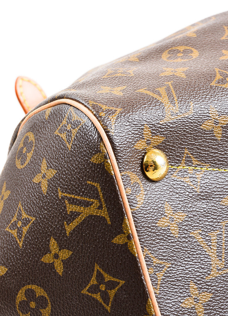 "Louis Vuitton Brown Monogram Canvas Leather Trim ""Tivoli GM"" Bag Detail 2"