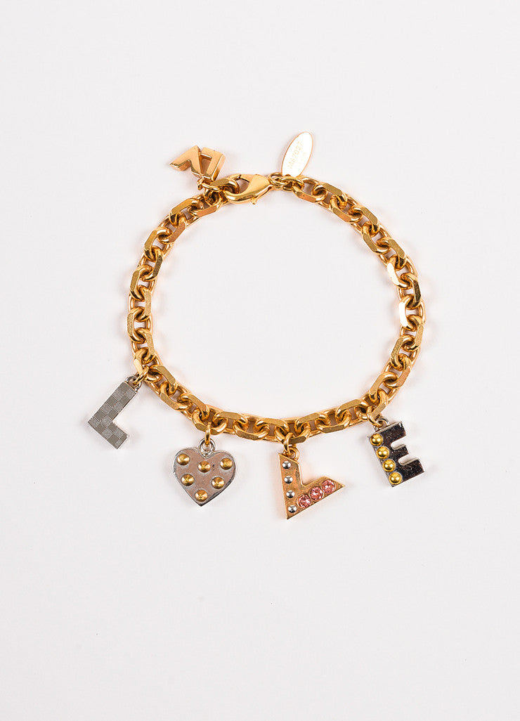 Louis Vuitton Gold and Silver Toned Pink Crystal Studded 'LOVE' Charm Link Bracelet Frontview