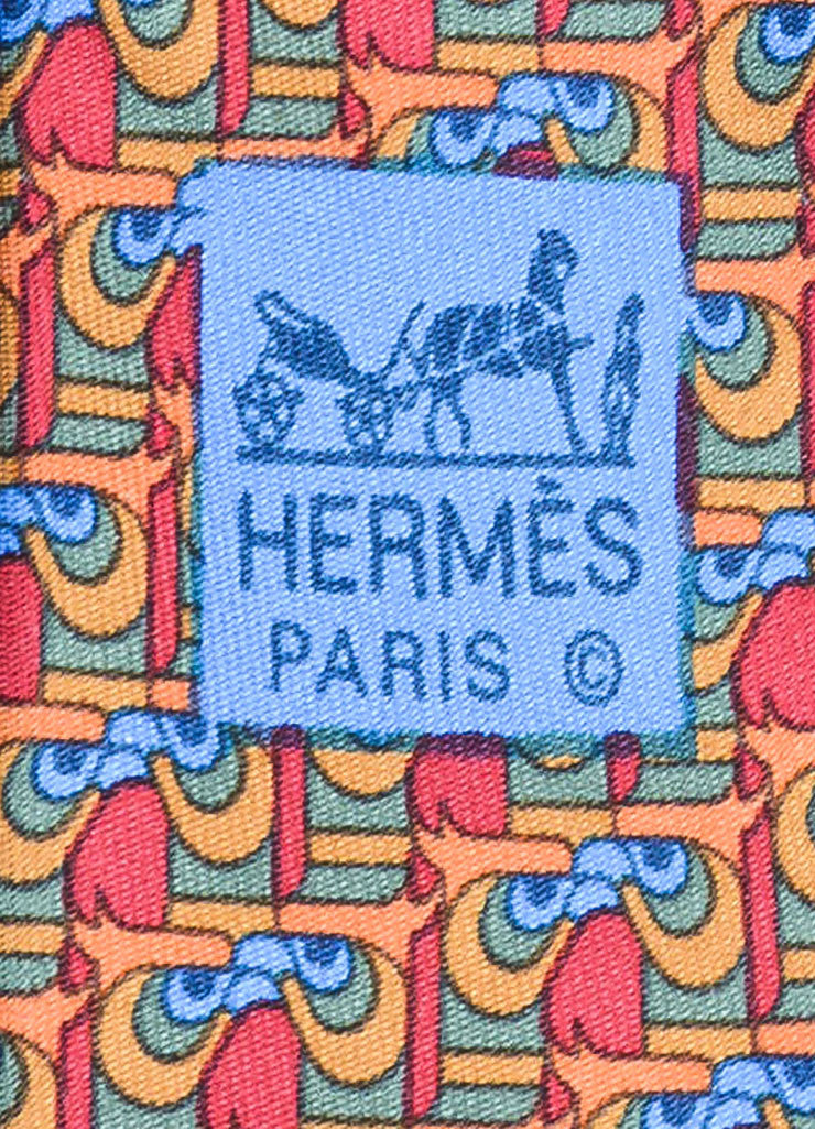 Men's Hermes Red Green Blue Silk Geometric Print Necktie Brand