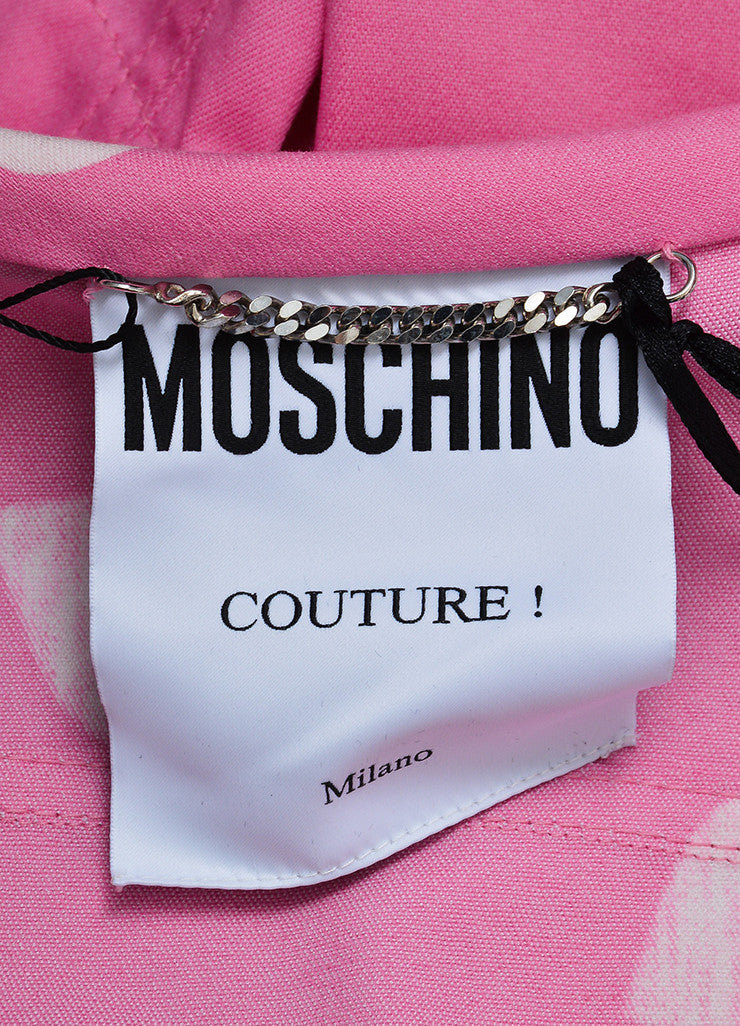 Pink and White Moschino Couture! Heart Print Cropped Jacket Brand