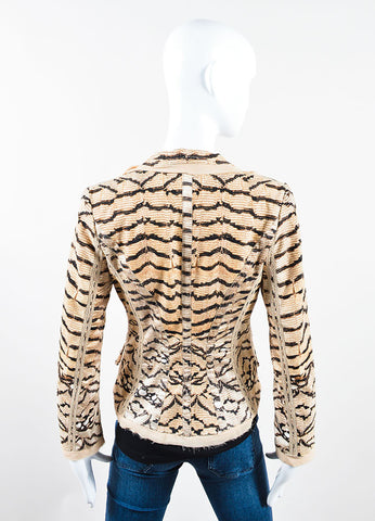 Roberto Cavalli Cream, Black, and Brown Knit Silk Trim Snakeskin Print Frayed Jacket Backview