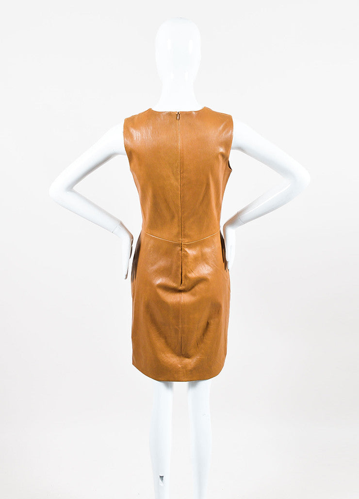 The Row Caramel Brown Leather Sleeveless Sheath Dress Backview
